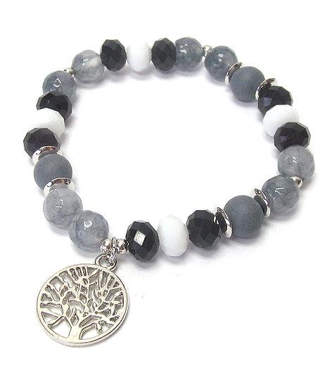 Gray & Black Tree of life stone and glass Bracelet