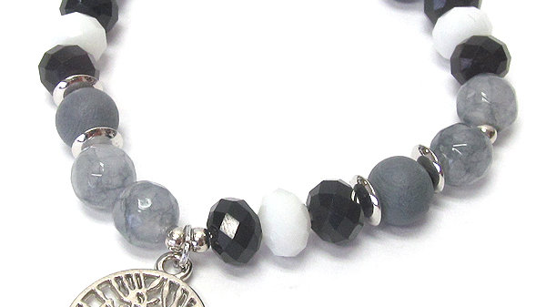 Gray & Black Tree of life stone and glass Bracelet