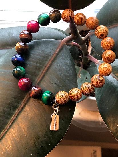 10MM Sandalwood and Multi-color Tiger's Eye Bracelet