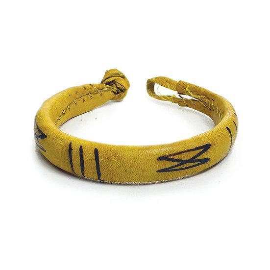 Handmade Leather Bracelet w/  Geometric Design from Africa