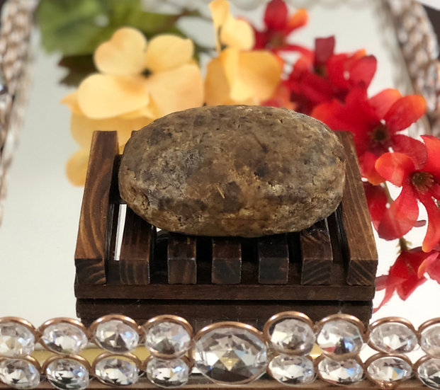 Raw Natural Black Soap with Soap Dish