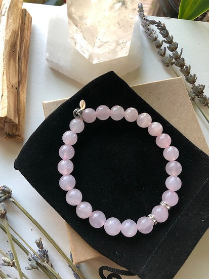 8MM Rose Quartz Gemstone Bracelet