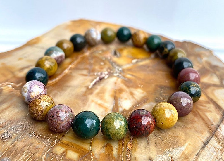 8MM Natural Ocean Jasper  Stretch Crystal Healing Bracelet