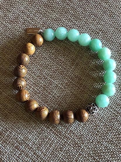 8MM Sand and Mint Gemstone  Bracelet