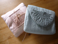 Smocked ring cushion and clutch bag
