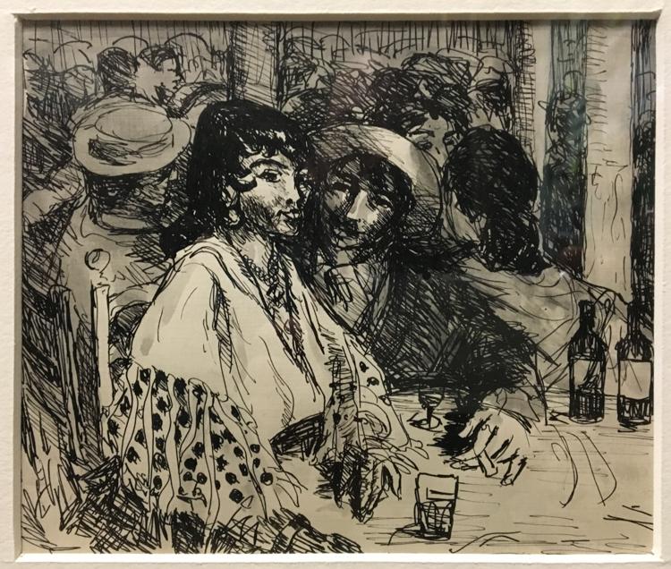 Robert Henri - Tavern Scene, Pen and Ink