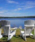 Adirondack chairs overlooking Haley Pond