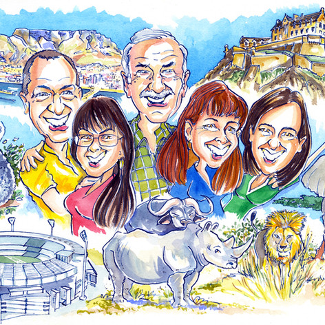 A3 Family Group Caricature featuring lives and holidays in Scotland, South Africa and Australia