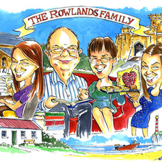 A3 colour family group caricature with music and holidays by Luke Warm