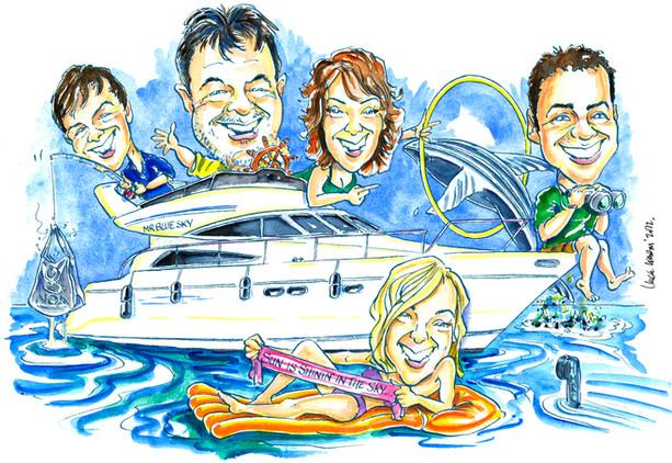 Motor Cruiser Family Caricature