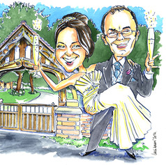 Caricature of Bride & Groom as Wedding Present