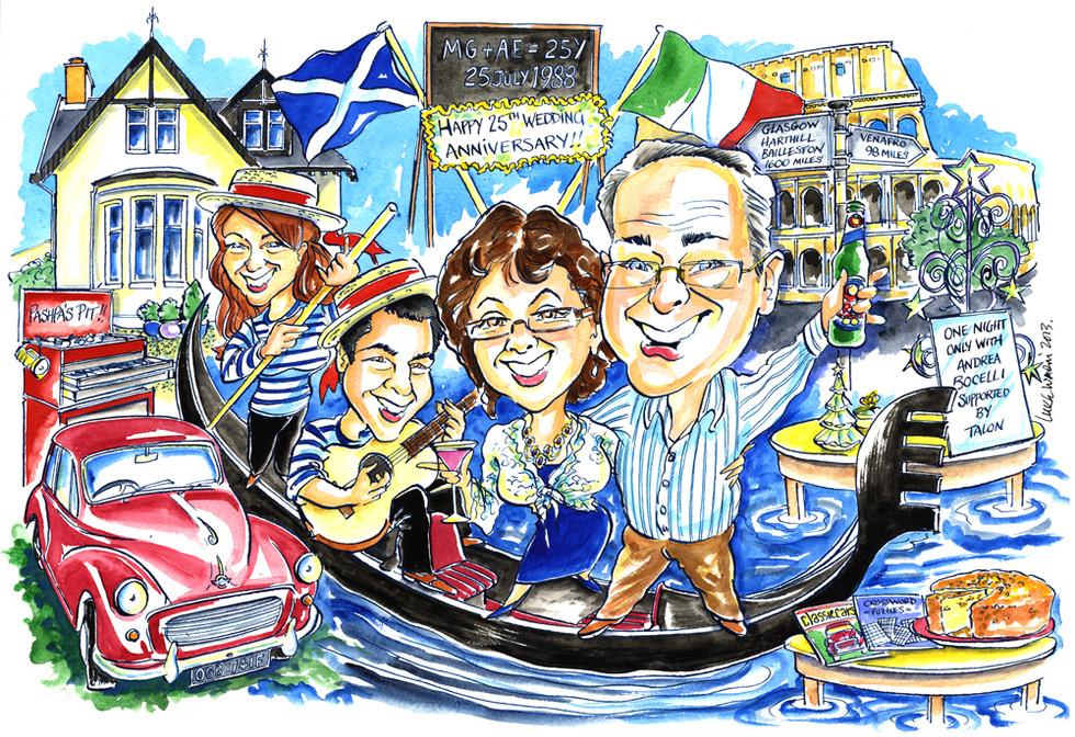 Italian Gondola Family Caricature