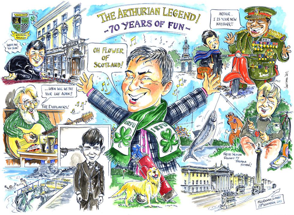 70th Birthday Caricature for an Irishman