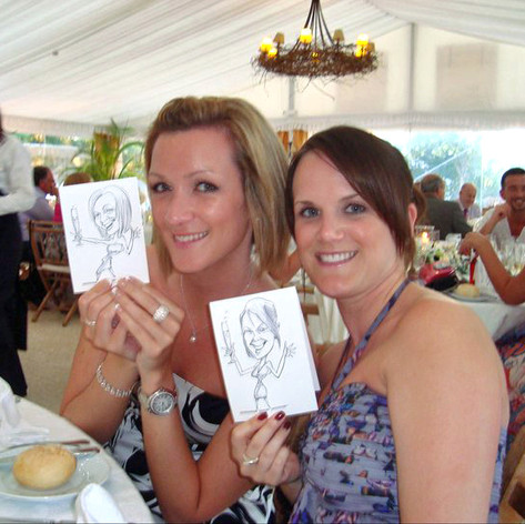 A6 Full Body Place Setting Caricature by Luke Warm in acrylic ink and grey highlighter on 240gsm Bristol board