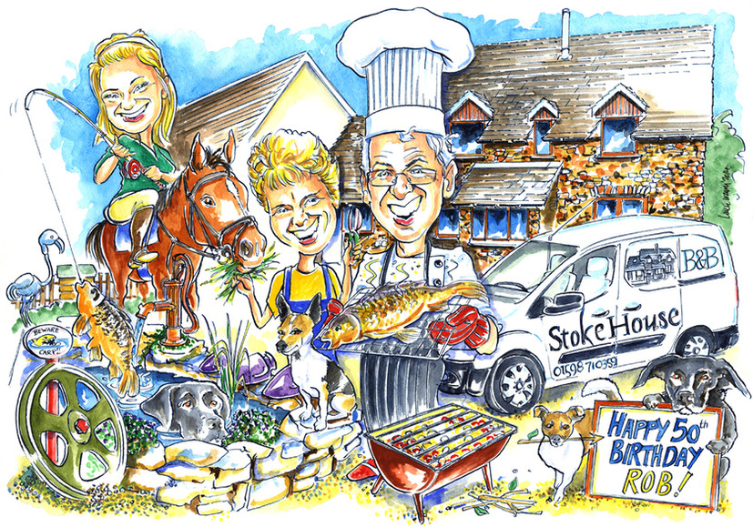 50th Birthday New Business Caricature