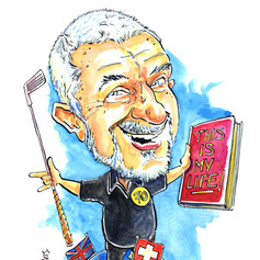 A4 colour caricature portriat of golfer from photos by Luke Warm