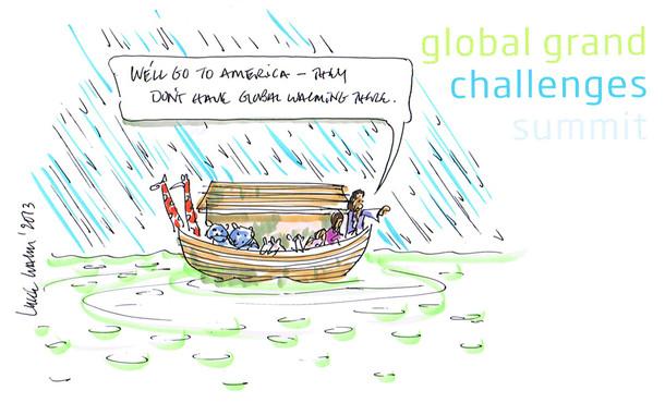 Global Warming Cartoon with Noah's Arc and the Flood