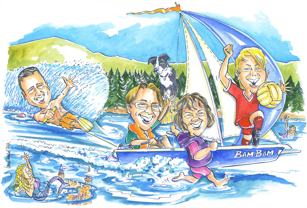 Watersports and Sailing Caricature