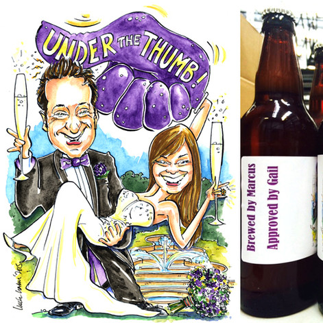 A4 colour caricature of the Bride and Groom used on their Homebrew Beer labels!