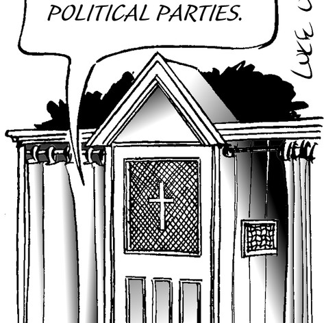 Irish Times cartoon about political disillusionment and apathy at the confessional
