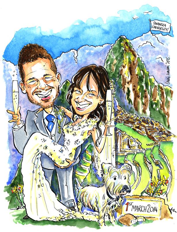 Honeymoon in Machu Picchu Caricature