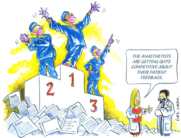 Studio redraw of Conference Cartoon by Luke Warm