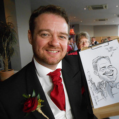 Caricature of the Best Man drawn On the Spot at a Wedding Reception by Caricaturist Luke Warm in Cornwall