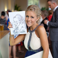 Caricature drawn On the Spot at a Wedding Reception by Caricaturist Luke Warm in Dorset