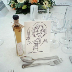 A6 B&W Place Setting Caricature for Wedding Breakfasts!