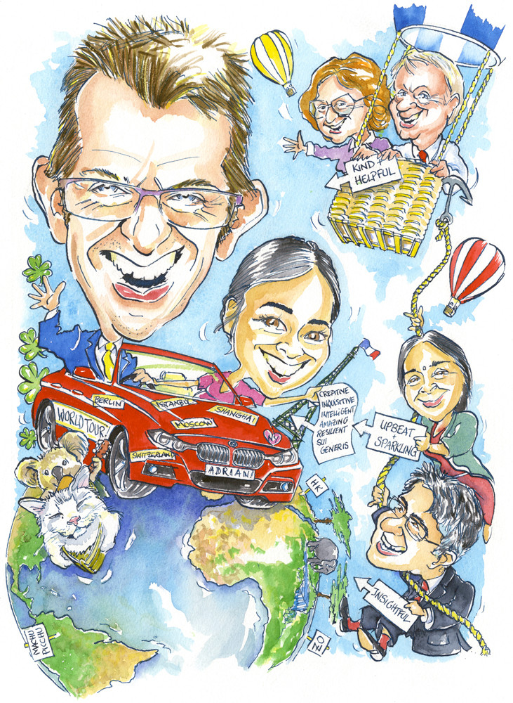 Hot Air Balloon and World Tour Caricature