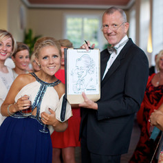 Luke Warm Caricaturing On the Spot at a Wedding Reception in Somerset