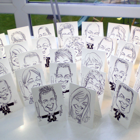 A6 Full Body Place Setting Caricatures by Luke Warm in acrylic ink and grey highlighter on 240gsm Bristol board