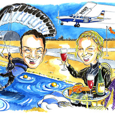 A3 colour caricature of extreme sports by Luke Warm