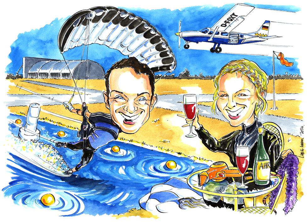 Engagement Present Paraglider Caricature