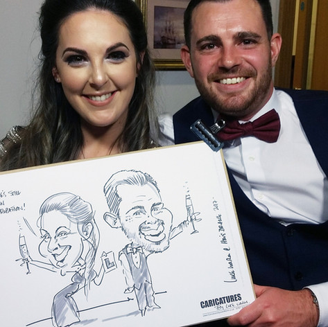 Luke Warm Caricaturing a Couple On the Spot at a Military Mess Ball
