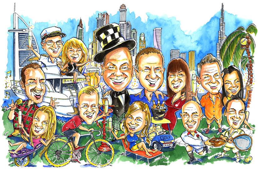 Expat Leaving Present Caricature