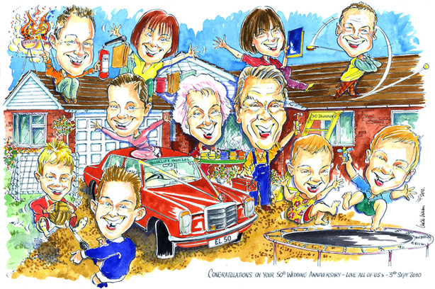 50th Golden Wedding Anniversary Caricature
