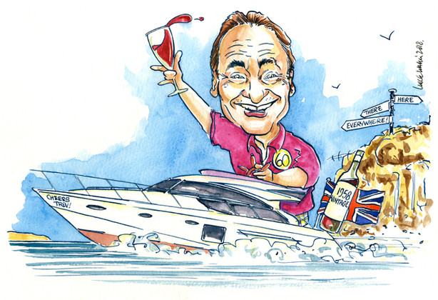 60th Birthday Powerboat Caricature