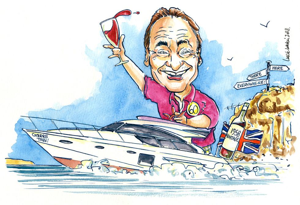 60th Birthday Powerboat Caricature