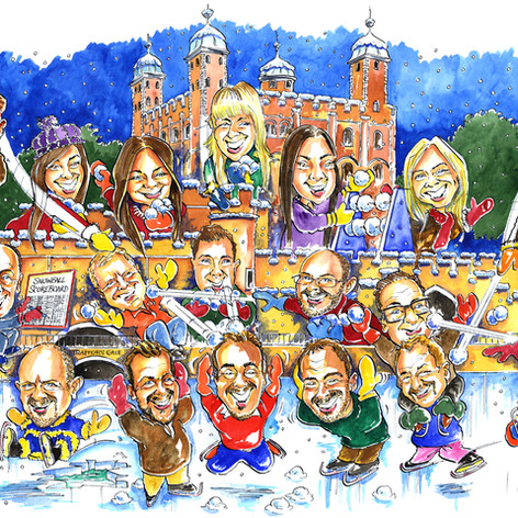 A1 Caricature Christmas Card with over 30 people and Tower of London Theme