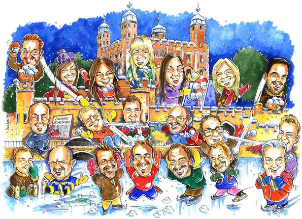 Corporate Christmas Card Caricature