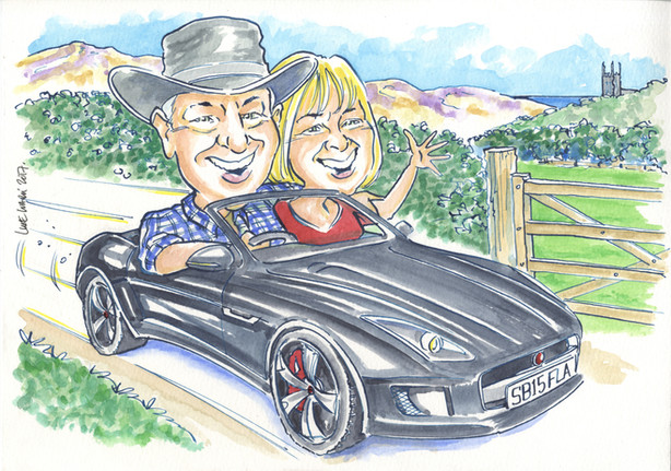 Classic Sports Car Birthday Caricature