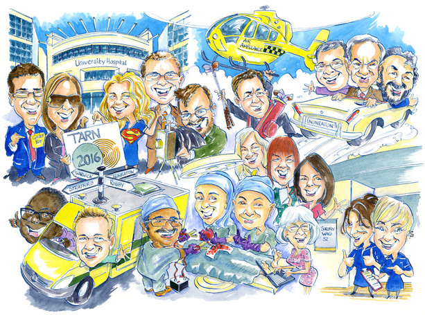 NHS Team Leaving Present Caricature