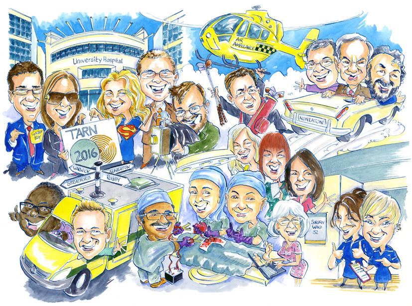 NHS Team Leaving Present Caricature
