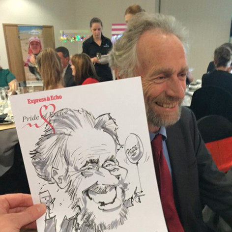 Caricature of a guest at the Pride of Devon Awards