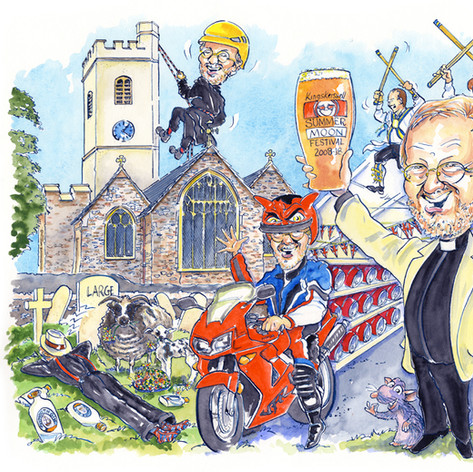 A2 colour caricature depicting 1 person in 6 different scenarios to celebrate his retirement!