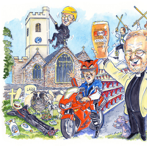 A2 colour caricature depicting 1 person in 6 different scenarios to celebrate his retirement!