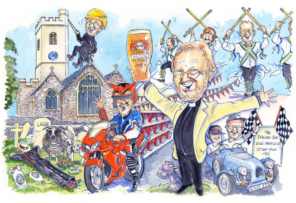 Vicar's Retirement Present Caricature