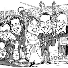 B&W Caricature of the Bridal Party for Presents