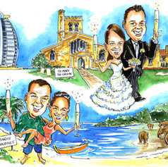 A3 colour Caricature of the Bride and Groom